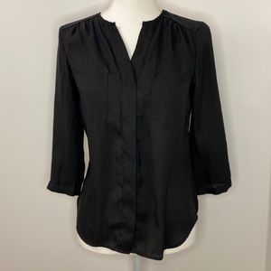 Black Silk Button Down